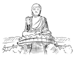 Cartoon sketch drawing illustration of Tian Tan or Big Buddha statue, Ngong Ping, Lantau Island, Hong Kong.