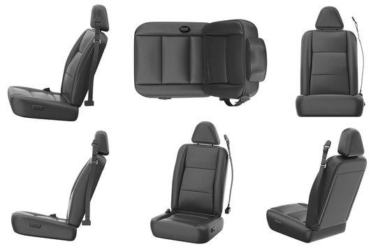Car seat comfortable black leather set. 3D rendering