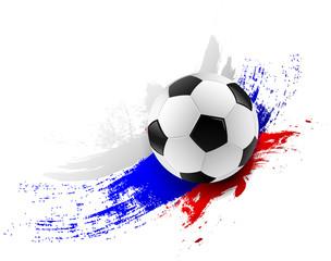 Fußball mit Russland Farben Pinsel Striche