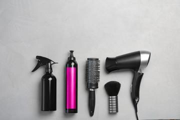 Professional hairdresser set on grey background