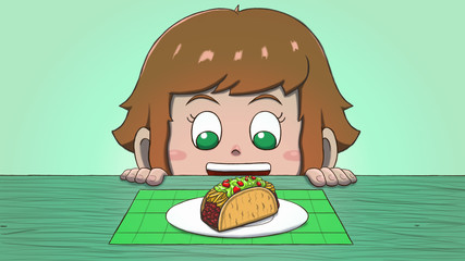 Close-up illustration of a white girl staring at a taco on the table.