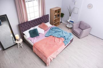 Modern bedroom interior, view through CCTV camera