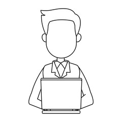 Businessman working with laptop vector illustration graphic design