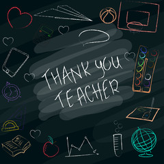 Teacher s day handdrawn poster with the words Thank you teacher .