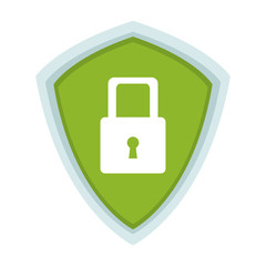 Padlock on shield security symbol vector illustration graphic design