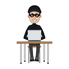 Hacker searching on laptop cartoon vector illustration graphic design