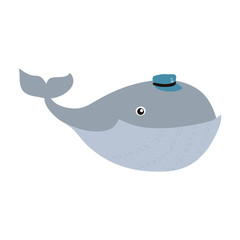 character whale cute animal with hat