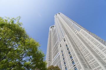 東京風景・春・新緑・青空・新宿・太陽・フレア