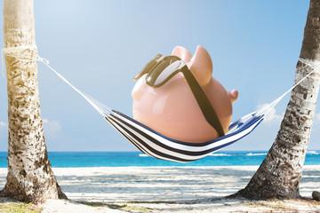 Pink Piggy Bank Relaxing On Hammock