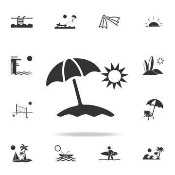 Sun Umbrella Icon. Detailed set of beach holidays icons. Premium quality graphic design. One of the collection icons for websites, web design, mobile app