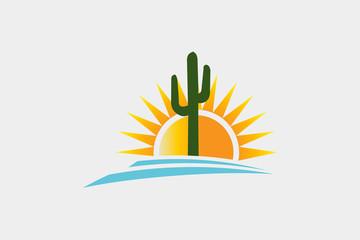 Cactus Desert Western Logo Illustration