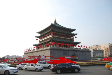 Xian Bell Tower in city centre of Xian, China Fototapete
