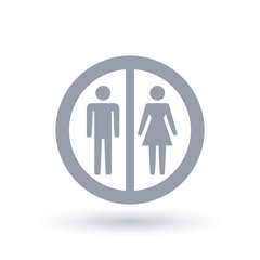 Male and female gender sign in circle outline. Woman and man icon. Ladies and mens silhouette symbol.