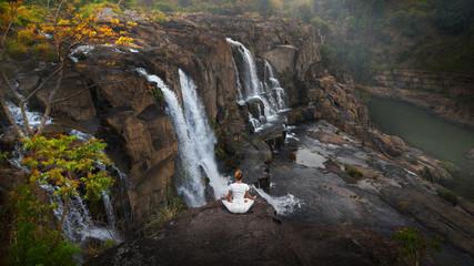 Serenity and yoga practicing at Pongour Falls, Vietnam