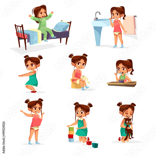 Vector cartoon girl daily routine activity set. Female character ...