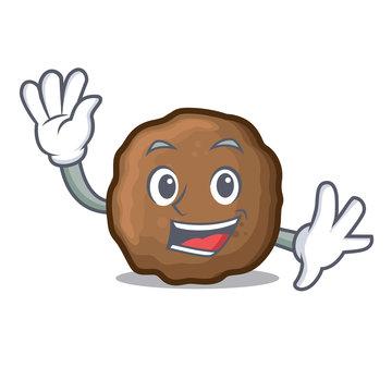 Waving meatball character cartoon style