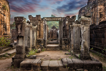 Ancient Khmer architecture at Angkor Wat complex, Siem Reap, Cambodia.