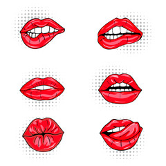 Set of sexy female lips in red glossy lipstick, seductive, kissing, bitten, with tongue, lollipop, cherry, rose, candy. Glamour mouths isolated on white background. Pop art style female sexy mouths. v