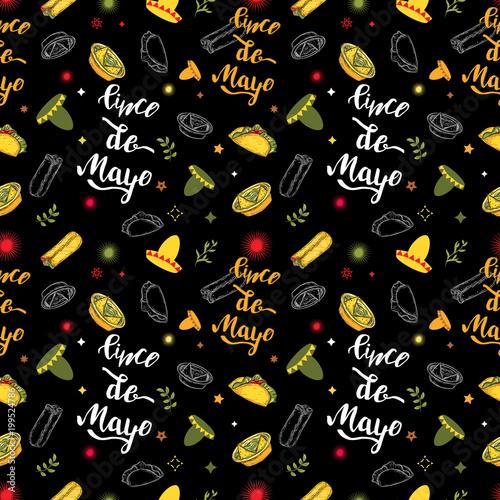 Cinco De Mayo Seamless Pattern Mexican Culture Symbols On Black