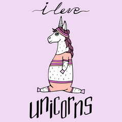 Lovely hand-drawn unicorn-girl playing sports and a lettering - i love unicorns.