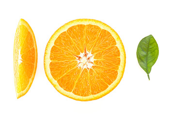 Healthy food. Orange slices and leaf isolated on white background. Top view.