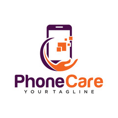 phone care logo design template isolated