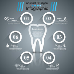 Business Infographics origami style Vector illustration. Tooth icon.