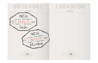 Passport pages. With stamp of Delhi and Mumbai, India