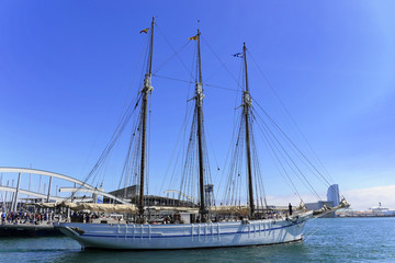 Museumsschiff des Schifffahrtsmuseums Museu Marítim de Barcelona im Hafen Port Vell, Barcelona, Katalonien, Spanien, Europa