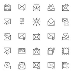 Mail outline icons set. linear style symbols collection, line signs pack. vector graphics. Set includes icons as Laptop with a letter envelope, Email message , Unknown email, Archive mail box