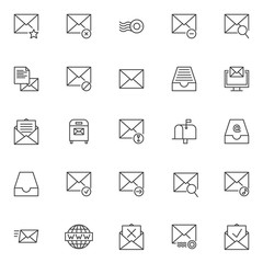 Mail universal outline icons set. linear style symbols collection, line signs pack. vector graphics. Set includes icons as Favorite email, Not delivered, Post rubber stamp, Mail remove , Post message