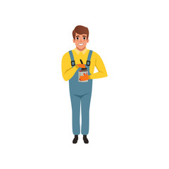 Male painter in uniform holding can of paint, house renovation concept vector Illustration on a white background