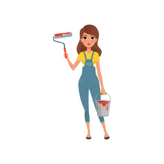 Female painter in uniform standing with roller and bucket in her hands, house renovation concept vector Illustration on a white background