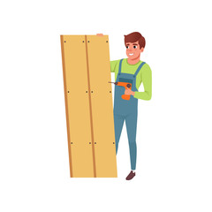 Male professional carpenter building a wooden construction vector Illustration on a white background