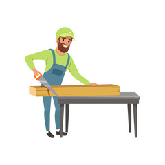 Male carpenter in uniform cutting a wooden plank with hand saw vector Illustration on a white background