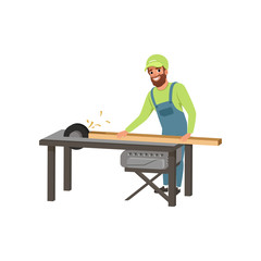 Male professional carpenter in uniform cutting a wooden plank with circular saw vector Illustration on a white background