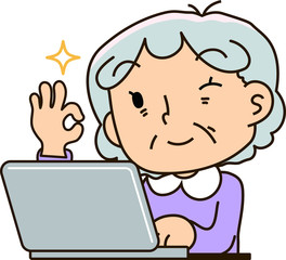 Grandmother using a laptop computer,All right