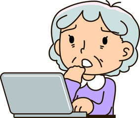 Grandmother using a laptop computer,To worry