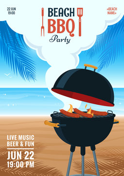 Beach barbecue party invitation. Summer BBQ party flyer. Grill illustration on the background of the beach. Design for flyer, menu, poster, announcement. Vector eps 10.
