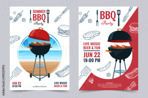"""""""BBQ Party A4 Invitation Template. Summer Barbecue Weekend"""