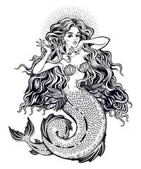Beautiful mermaid girl with fairytale hair art.