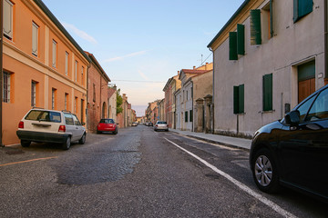 Montagnana, Italy - August 25, 2017: parking spaces for private cars of city residents.