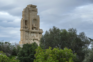 Philopappos Monument is an ancient Greek mausoleum and monument dedicated to Gaius Julius Antiochus Epiphanes Philopappos or Philopappus, a prince from the Kingdom of Commagene in Athens, Greece.