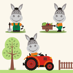Set of funny donkey farmer with shovel, with wheelbarrow with vegetables, in farm tractor. Collection of donkey is working on the farm.