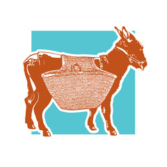 Drawing of donkey with carrying luggage - side view. Cute illustration of farm animal with basket on the back. Vector image.
