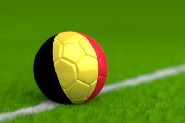 Soccer Ball With Belgian Flag 3D Render