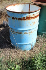rusty blue barrel
