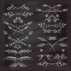 Hand drawn floral elements set on the chalkboard.