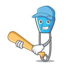 Playing baseball safety pin character cartoon