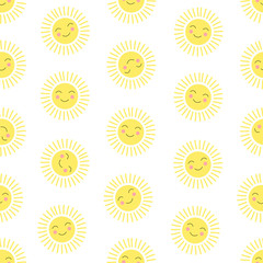 Seamless pattern with a cute sun. Colorful background.